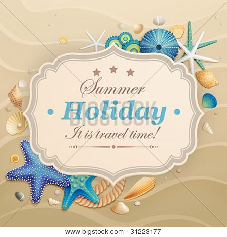 Vintage Holiday greeting card with shells and starfishes and place for text.