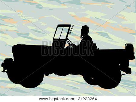 Dibujo de un vehículo militar vectorial