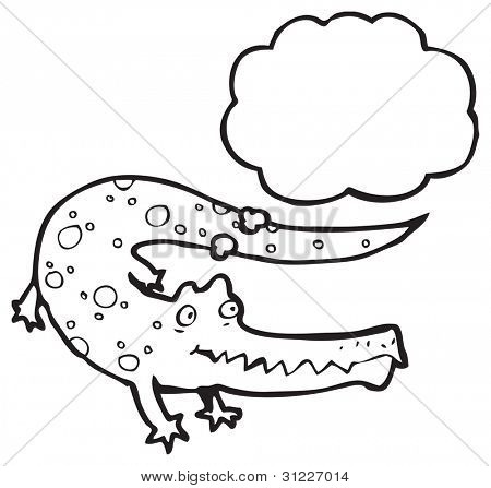 crocodile with thought bubble cartoon