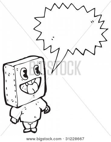 niño cabeza de la caja de dibujos animados