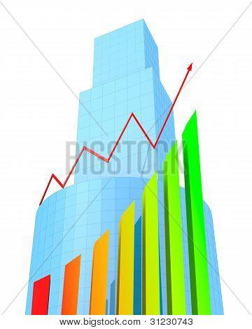 Edifícios de negócios e o gráfico de seta