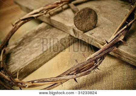 a representation of the crown of thorns and the cross of Jesus Christ