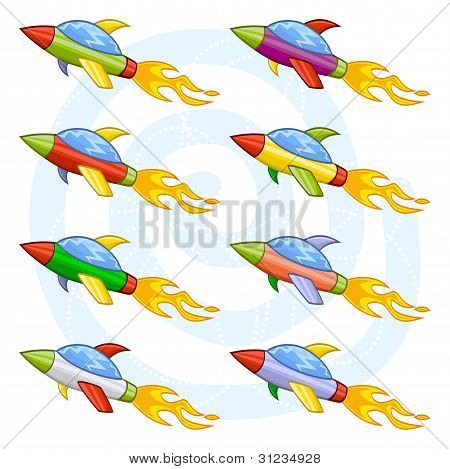 Cartoon space shuttles or space rockets