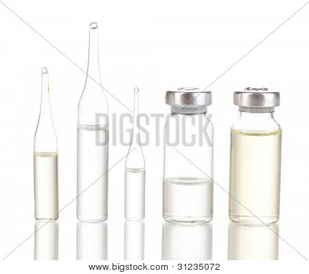 Medical ampoules isolated on white