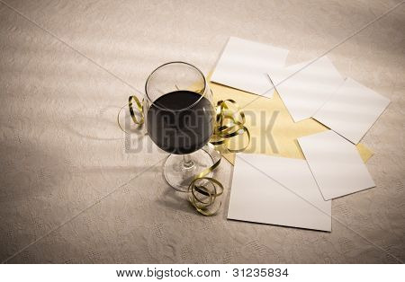 Wine Glass And Decorations With Blank Photo Shapes