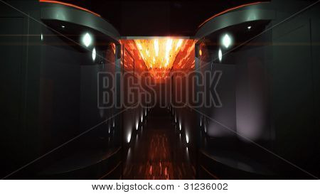 The Orange Of Space Corridor