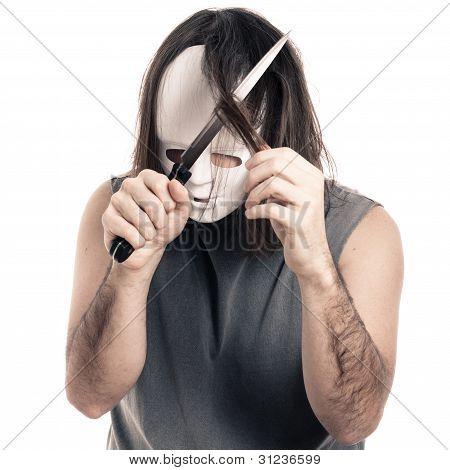 Scary Man Cutting His Hair