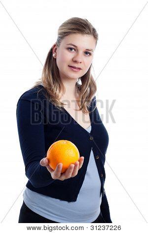 Woman Holding Orange