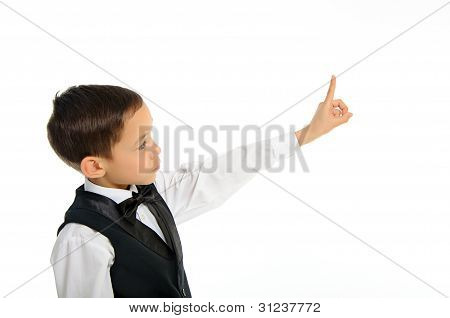Boy Touching Something With His Finger Isolated