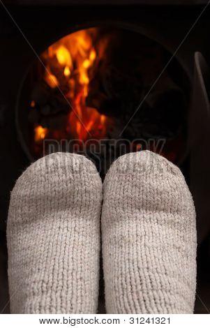 Secar los pies de fuego