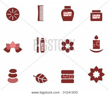 Spa & Wellness Icons Set Isolated On White ( Brown )