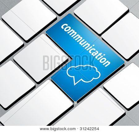 background with a computer keyboard and the word communication