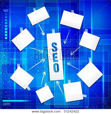 search engine optimization ( SEO concept)  in word tag cloud on blue background in techno style