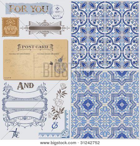 Elementos de diseño de bloc de notas - Vintage postal Hintergrund victoriana inconsútil en vector