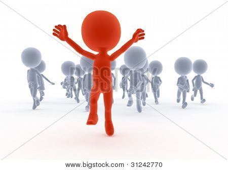 Toon people running in conceptual race, competition. A happy leader