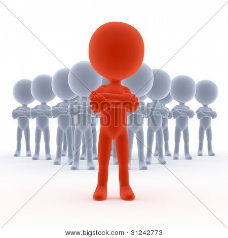 Business team leader with his people. 3d little humans