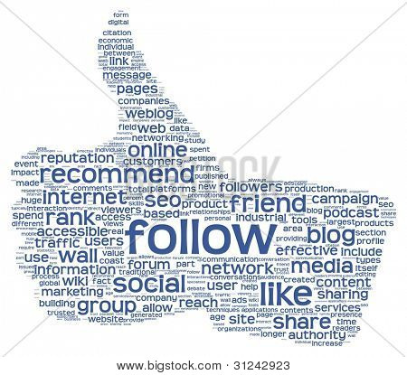 Follow as social media concept in tag cloud of thumb up shape. Isolated on white background