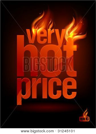 Fiery Very Hot Price, sale background. Eps10 Vector.