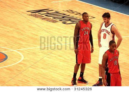"Danilo Gallinari, Clarence ""Sonny"" Weems and DeMar DeRozan during NBA knicks match at madison square"