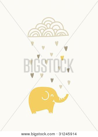 Elephant under raining cloud , vector illustration