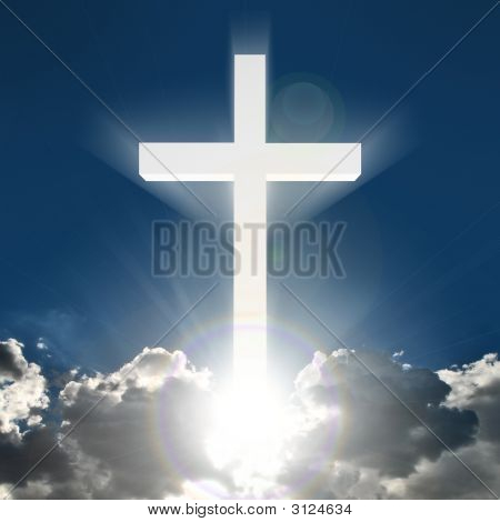 White Cross Beaming In Sky
