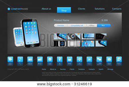 Smartphone touch technology concept business innovation. Website template for stylish concept online store or something else. Editable.