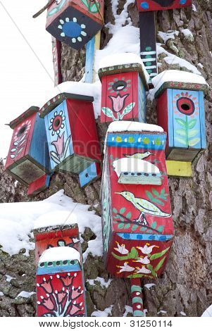 Decor Bird Houses Nesting-box Snowy Tree Winter