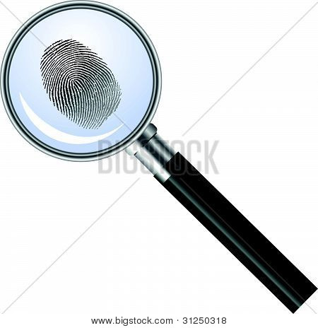 Magnifying glass searching for fingerprint