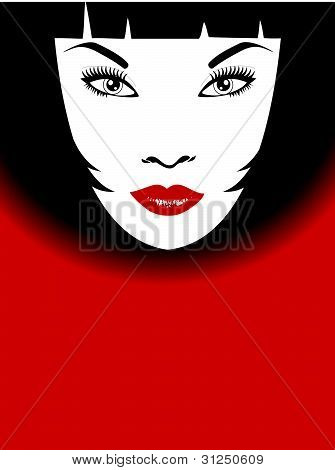 Stylish background of woman with red lips and bob hairstyle