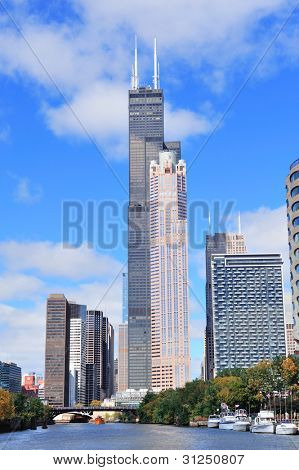 CHICAGO, IL - OCT 6: Willis tower and skyline on October 6, 2011 in Chicago, Illinois. It is known as the famous landmark and is 1451 feet high as the world's tallest for 25 years since completion.