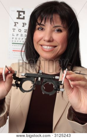Optometrist Holding Trial Frames