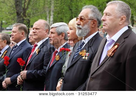 MOSCOW - MAY 8: Russian Federation State Duma deputies at ceremony of wreath laying at tomb of Unknown Soldier at Victory Day, on May 8, 2011, Moscow, Russia.