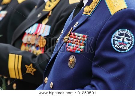 MOSCOW - MAY 8: Military awards of veterans at ceremony of wreath laying at tomb of Unknown Soldier at Victory Day celebrations, on May 8, 2011, Moscow, Russia.