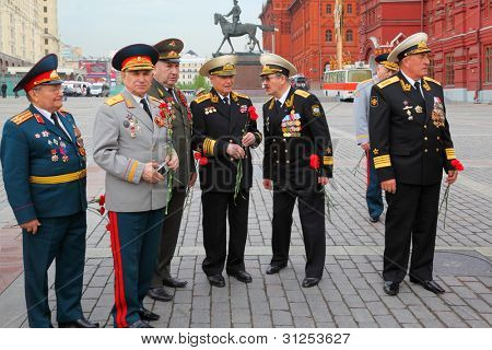 MOSCOW - MAY 8: Unidentified Veterans near monument to military commander Georgy Zhukov on Manege Square at Victory Day, on May 8, 2011, Moscow, Russia.