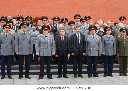 MOSCOW - MAY 8: Officers and veterans stand near Kremlin wall at ceremony of wreath laying at tomb of Unknown Soldier at Victory Day celebrations, on May 8, 2011, Moscow, Russia.