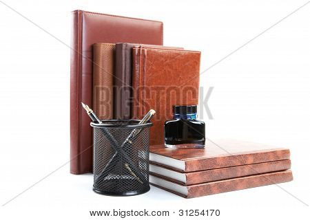 Business Still-life With Organizers Pens And Ink Isolated