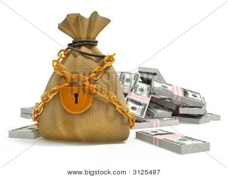 Money Bag With Gold Lock And Dollar Packs
