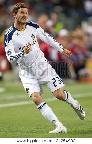 CARSON, CA. - MAY 7: Los Angeles Galaxy M David Beckham #23 in action during the MLS game between the New York Red Bulls & the Los Angeles Galaxy on May 7 2011 at the Home Depot Center in Carson, CA