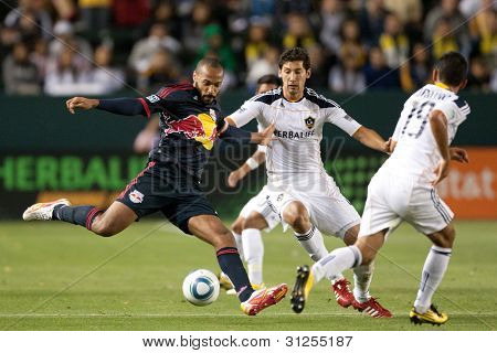 CARSON, CA. - MAY 7: New York Red Bulls F Thierry Henry #14 (L) in action during the MLS game between the New York Red Bulls & the Los Angeles Galaxy on May 7 2011 at the Home Depot Center in Carson, CA