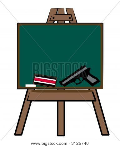 Chalkboard Easel With Handgun