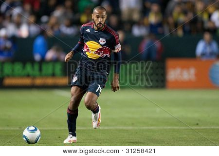 CARSON, CA. - MAY 7: New York Red Bulls F Thierry Henry #14 in action during the MLS game between the New York Red Bulls & the Los Angeles Galaxy on May 7 2011 at the Home Depot Center in Carson, CA.