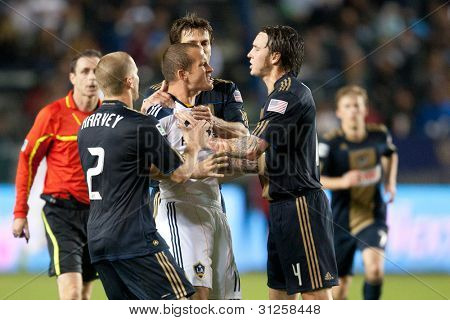 CARSON, CA. - APRIL 2: Los Angeles Galaxy F Chad Barrett #11 gets surrounded by Philadelphia Union players after a shoving match broke out during the MLS game on April 2 2011 at the Home Depot Center in Carson, CA.