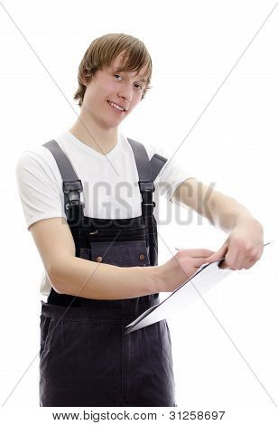 Young Warehouse Worker Makes Notes. Isolated On White Background.