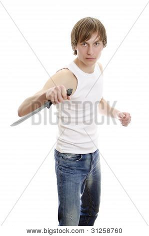 Man With Military Knife. Isolated On White.