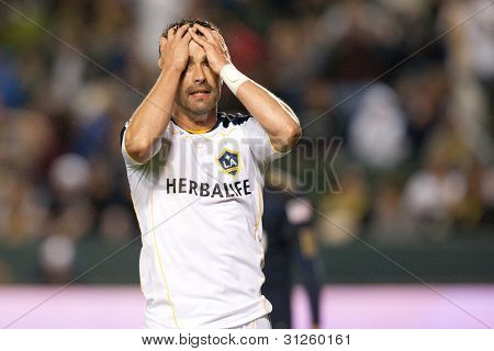 CARSON, CA. - APRIL 2: Los Angeles Galaxy F Juan Pablo Angel #9 shows his frustration after missing a goal scoring opportunity during the MLS game on April 2 2011 at the Home Depot Center in Carson, CA.