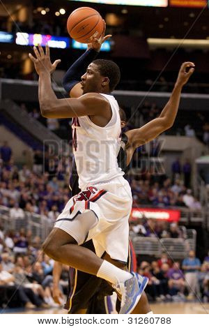 LOS ANGELES - MARCH 12: Arizona Wildcats F Solomon Hill #44 in action during the NCAA Pac-10 Tournament basketball championship game on March 12 2011 at Staples Center in Los Angeles, CA.