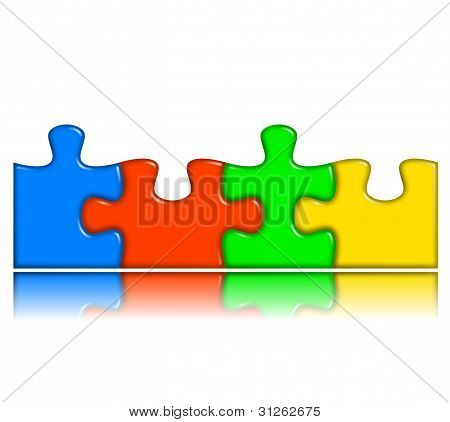 Combined Multi-color Puzzle With Reflection