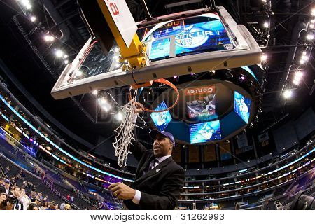 LOS ANGELES - MARCH 12: Washington Huskies head coach Lorenzo Romar after the NCAA Pac-10 Tournament basketball championship game on March 12 2011 at Staples Center in Los Angeles, CA.