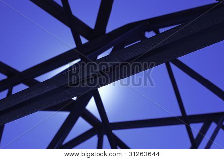Black Steel Trusses  In Industrial Building
