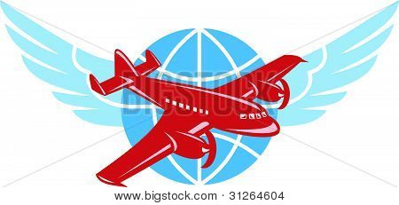 Propeller Airplane Wings Globe Retro